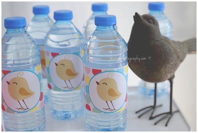 Polka Dot Bird Printable Water Bottle Labels