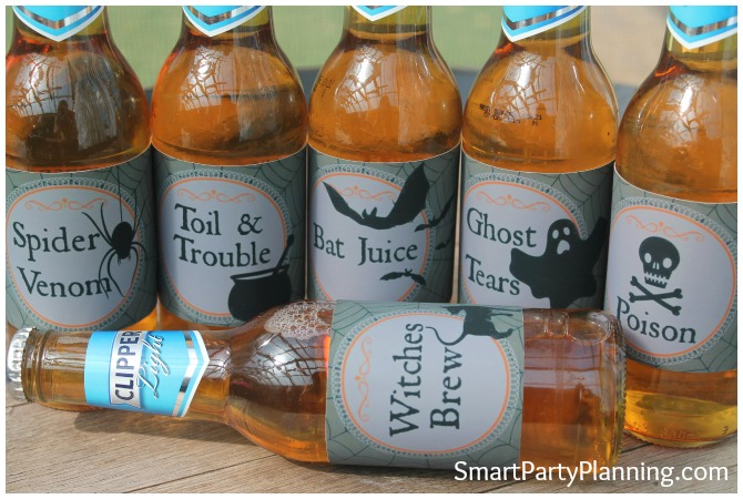 Set of 6 Halloween beer labels