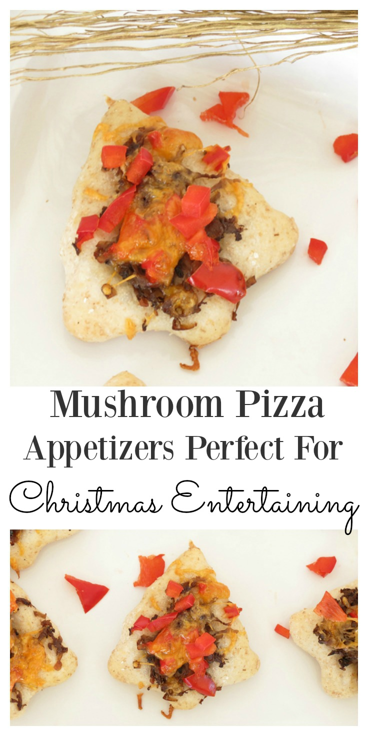 Mushroom pizza appetizers, perfect for Christmas: Enjoy mini bites of mouth watering mushroom appetizers which your guests will love over Christmas entertaining. They are easy appetizers that can be made by anyone, regardless of skill level! Eat them warm or cold and they are great for the kids too. This is one of those recipes you are going to make over and over again.