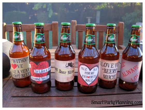 Set of 6 color Valentine beer labels
