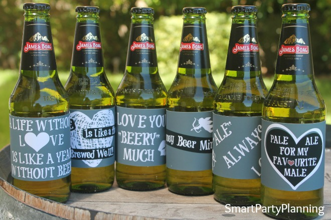 6 chalkboard Valentine beer labels