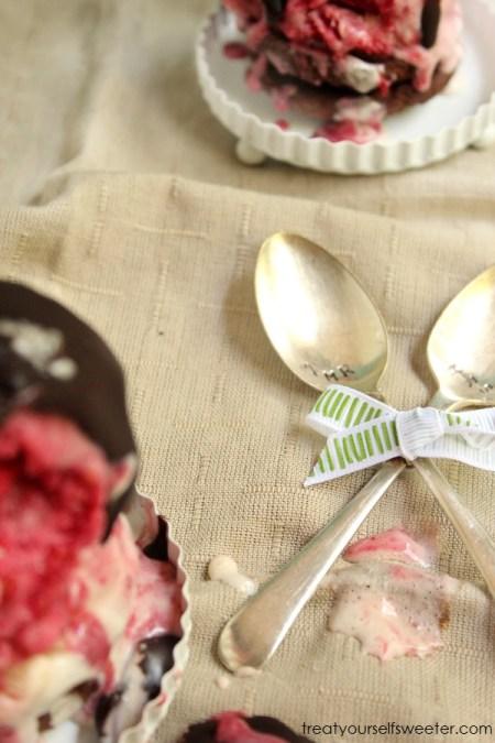 Raspberry Swirl Icecream Stack & Chilli Chocolate Sauce