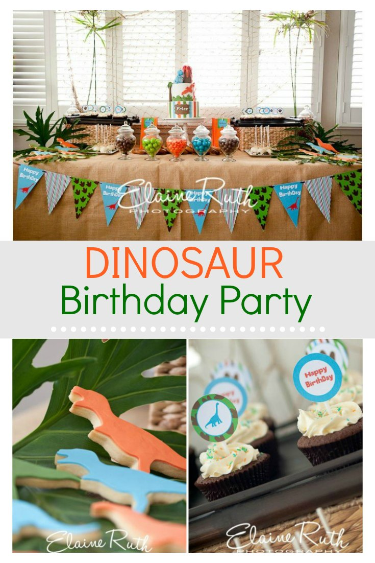 An amazing dinosaur birthday party.   It features awesome ideas for a cake and decorations that the boys are going to love. This is a super fun party theme that will inspire you to create your own Jurassic party.