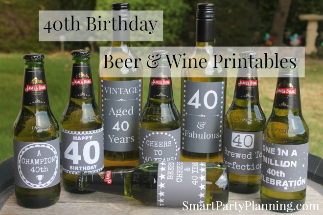 40th Birthday Beer& Wine Printables