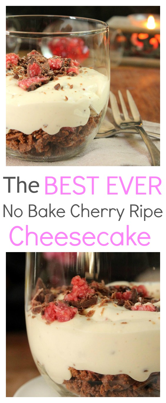 The best ever easy no bake cherry ripe cheesecake that has to be tried immediately. This is a cheesecake to knock the socks off. It's not healthy, but it is delicious and the perfect way to spoil the one you love. Made with the ingredients that Australia loves.