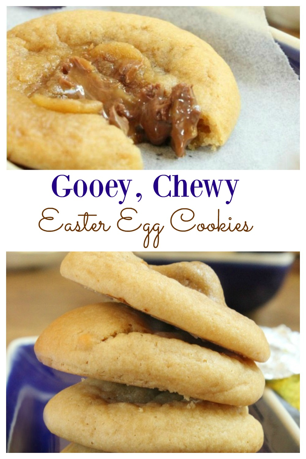 Gooey, Chewy Warm Easter Egg Cookies; served warm and cooked just right, these cookies are a sweet delight with a melted caramel chocolate center.  These cookies make an awesome dessert, afternoon snack and even a fantastic Easter gift.