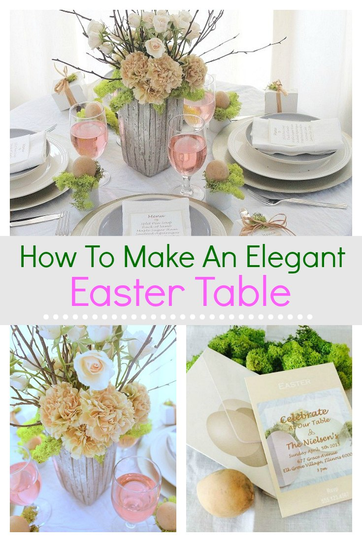 Learn how to make an elegant Easter table that is simple to prepare and perfect for Spring.   With small flower arrangements, centerpieces and easy party decorations, these ideas will have your styling the perfect display in no time at all. This Easter table will be sure to impress.