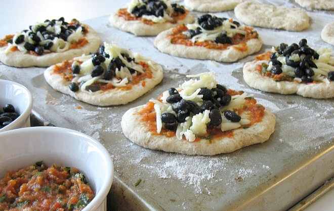 Homemade Veggie Pizza Pockets with black beans