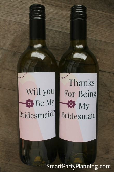 Printable Will You Be my Bridesmaid Wine Labels Pink