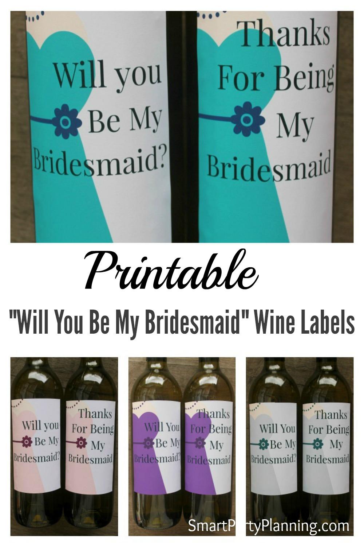 Printable Bridesmaid Wine Labels Pinterest