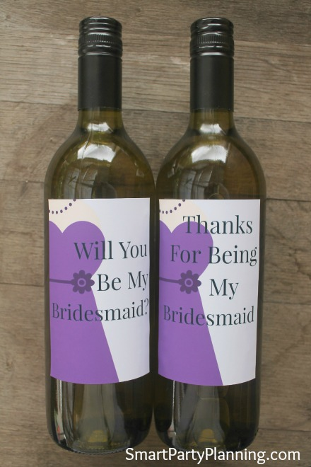 Printable Will You Be my Bridesmaid Wine Labels Purple