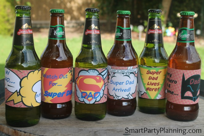 Super dad printable beer labels on the bottles