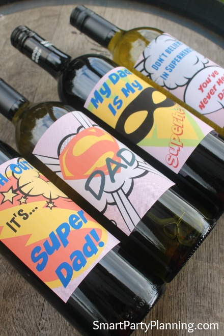 Super dad wine bottles lying down