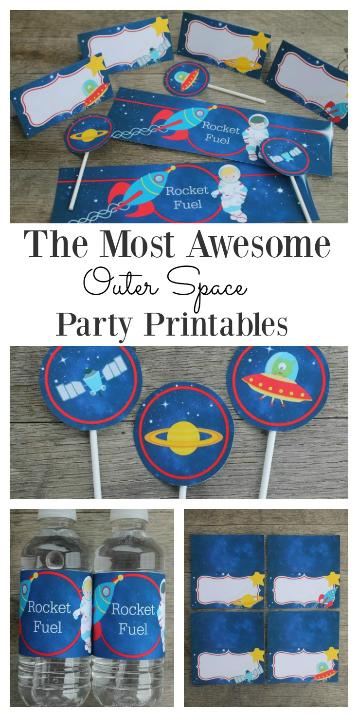 Set of outer space printables for kids, which are perfect for a space or galaxy themed party. They are a super fun and easy party decoration. Bring the solar system to the party with the planets, rockets, spacemen and even little aliens. Remember to grab yourself the free water bottle labels. #Printables #Outerspace #Birthday #PartyPrintable #Space #Forboys #Birthday #DIY #Decor #Easy