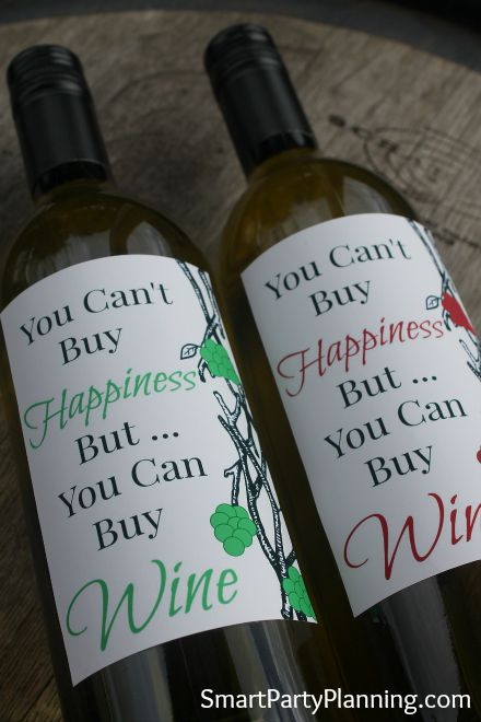 Printable Happiness Is Wine Labels