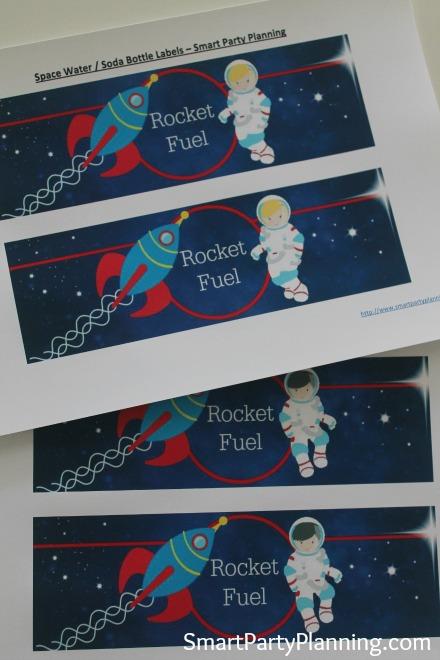Space Water Bottle & Soda Label Designs