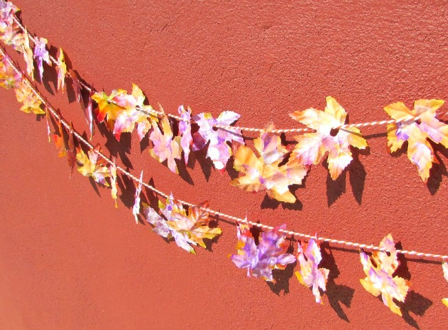 Fall leaf garland with bright painted leaves