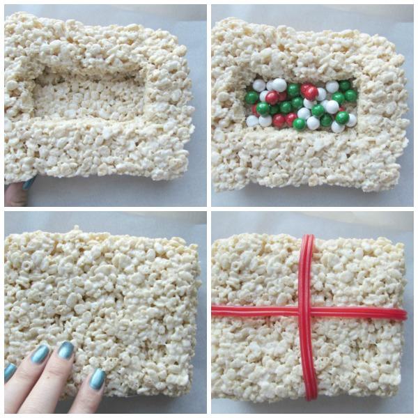 Large rice krispie treat Christmas present