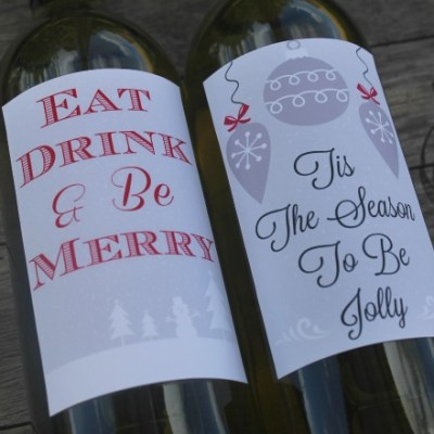 Printable Wine Labels For Christmas