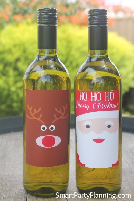Printable Rudolf & Santa Wine Labels
