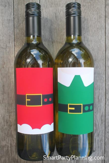Printable Santa & Elf Wine Labels