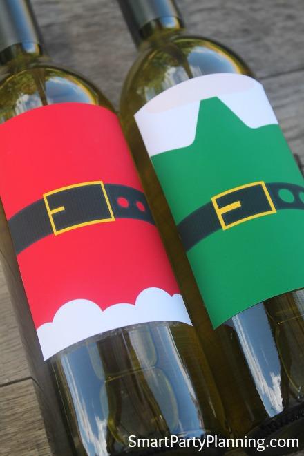 Printable Wine Labels Santa & Elf Suits
