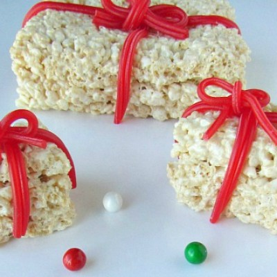Christmas Rice Krispie Treats Styled As Presents