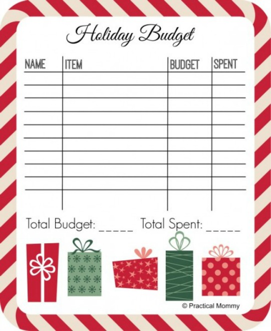 Holiday budget printable