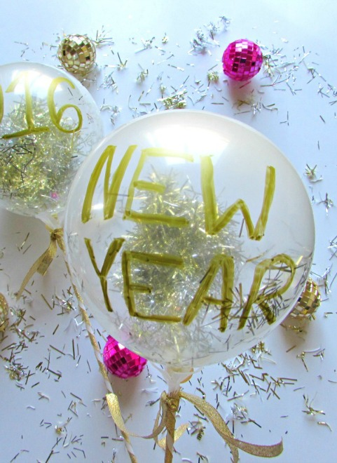 New year confetti filled balloon wand