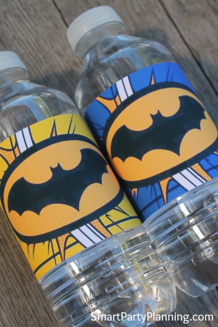 Batman water bottle labels