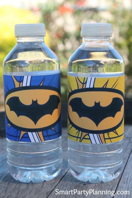 Batman water bottle labels