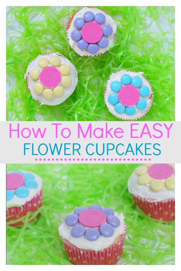 Learn how to make easy flower cupcakes that the kids will find simple and easy. They can be creative with their decorating skills to make some beautiful cupcakes. They would be special to make for Mother's day, or birthday's, or just to enjoy the start of Spring. #Flowercupcakes #Spring #Learnhowtomake #Kids