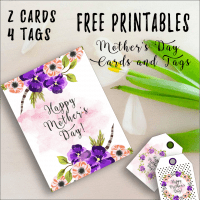 Use these free printable mother's day cards and tags to organize a treat for mom this year. Mom doesn't need super expensive gifts, but she does need to be made to feel special. This can be easily achieved once you download these cards and matching tags.