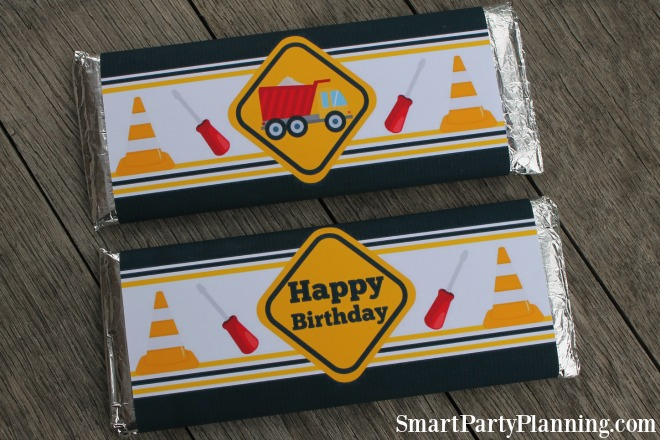 Construction party Hershey bar wrappers