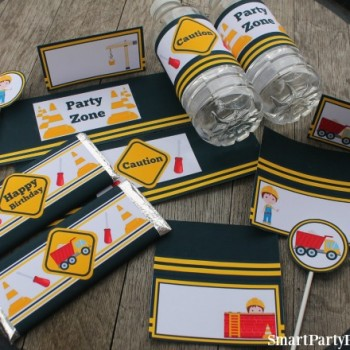 A construction birthday party is an ideal choice for those little ones that love building things...or tearing things apart! These construction party printables will help provide easy party decoration on a budget. DIY party decoration doesn't have to be difficult and with these food table tents, cupcake toppers, Hershey bar wrappers and water bottle labels, the party food table will simply look amazing. If you are in need of some boys party ideas, then this is your problem solved. Grab the easy download printables now.