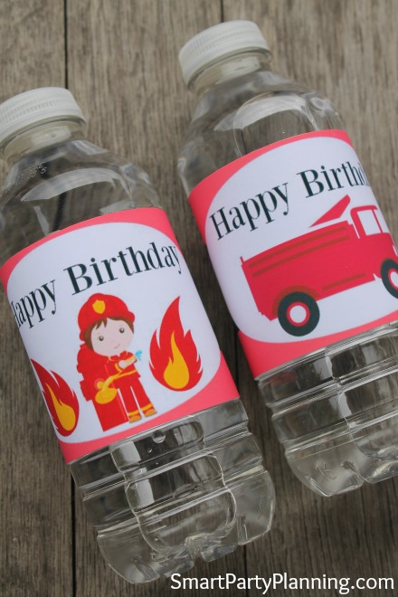 fireman birthday water bottle labels