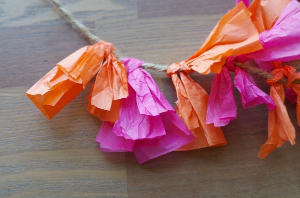 Fold tissue paper pieces down