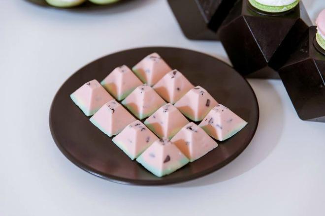 Watermelon chocolate pyramids