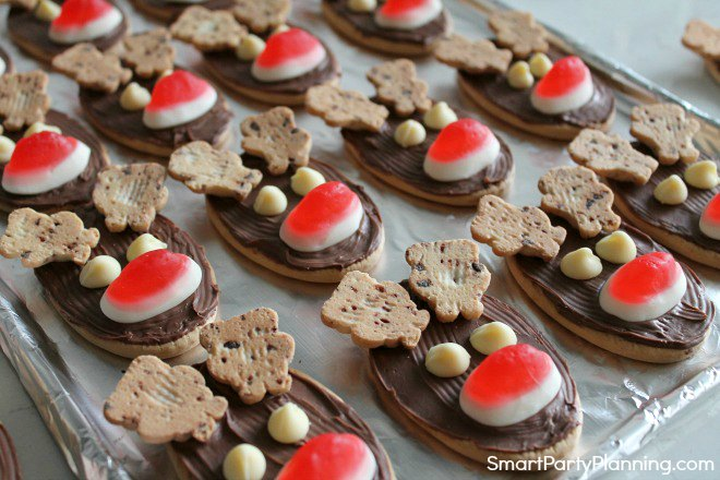 Use white chocolate chips as eyes for the reindeer cookies