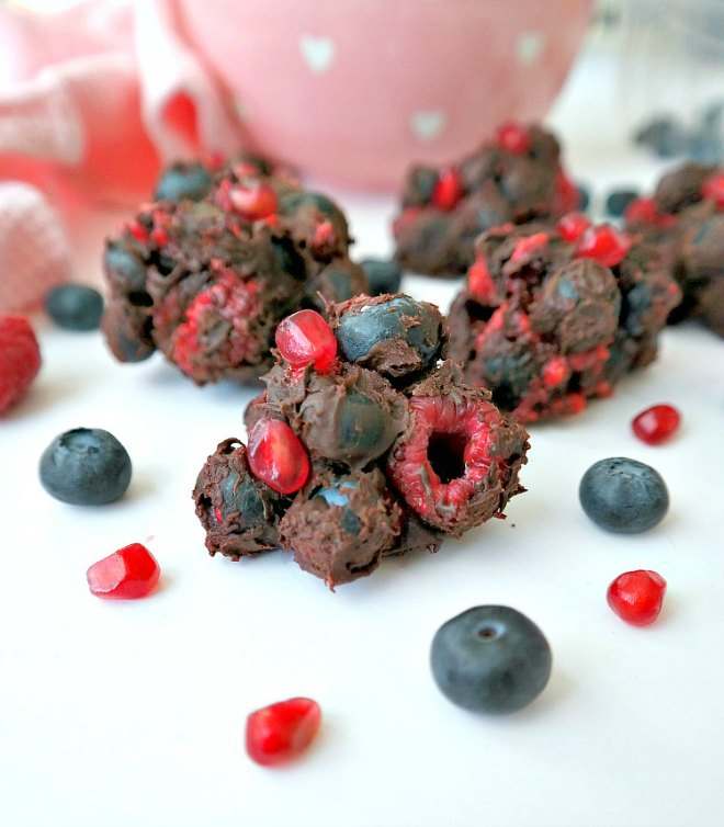 Mixed berry chocolate cluster