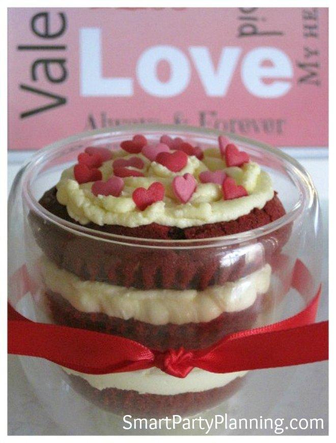 Red velvet cupcake in a glass