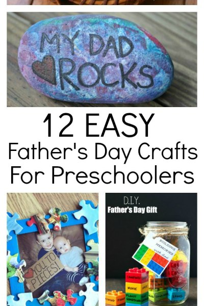 12 awesome and easy father's day crafts for Preschoolers. Handmade gifts make treasured gifts and with these easy tutorials, the kids will have a ton of fun making something special for dad. Crafts are complete with handprints, rocks, lots of paint, Lego and even puzzle pieces. No 12 is genius for the babies!