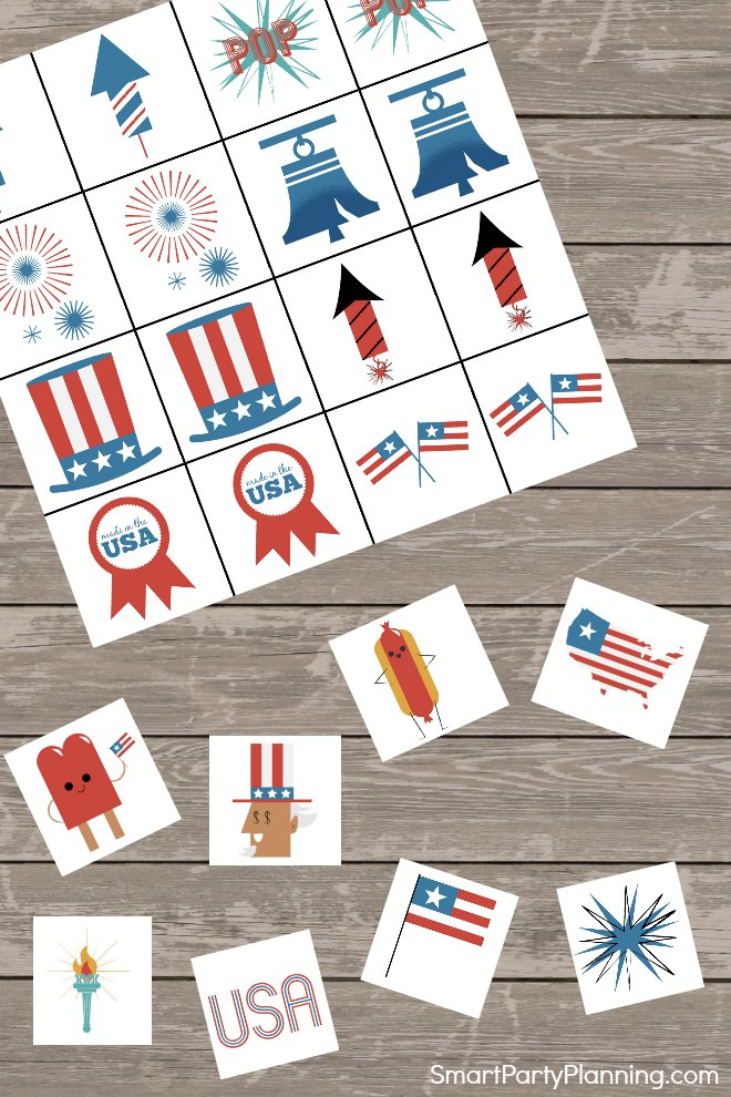 Card and pieces of the printable memory game