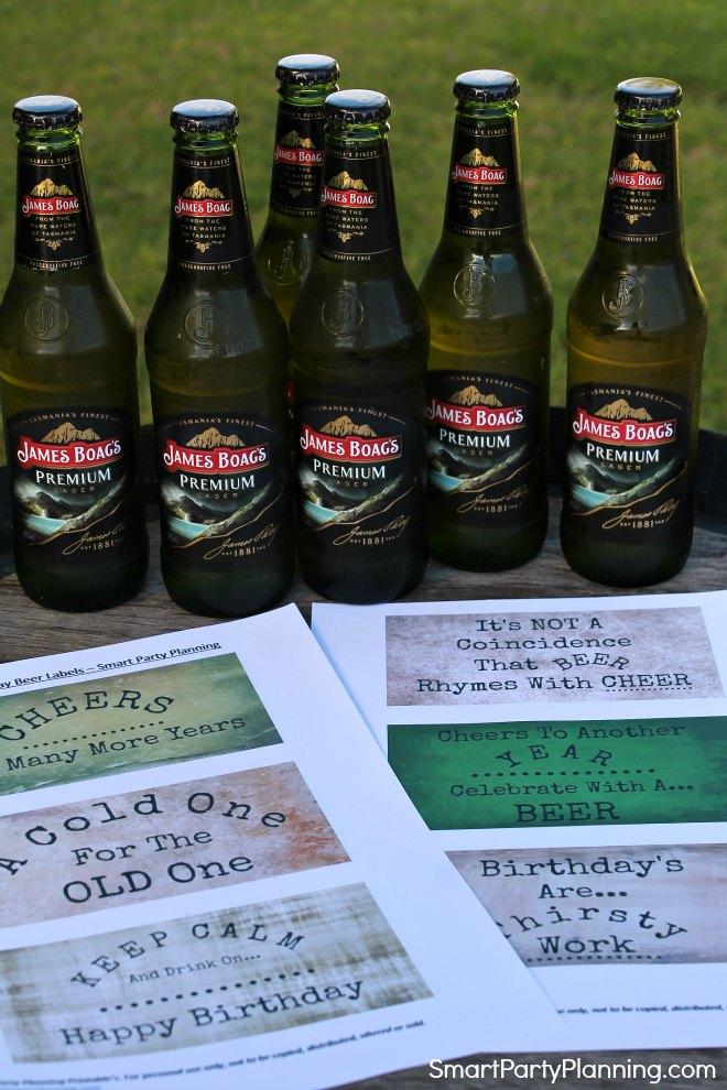 6 Birthday Beer Labels