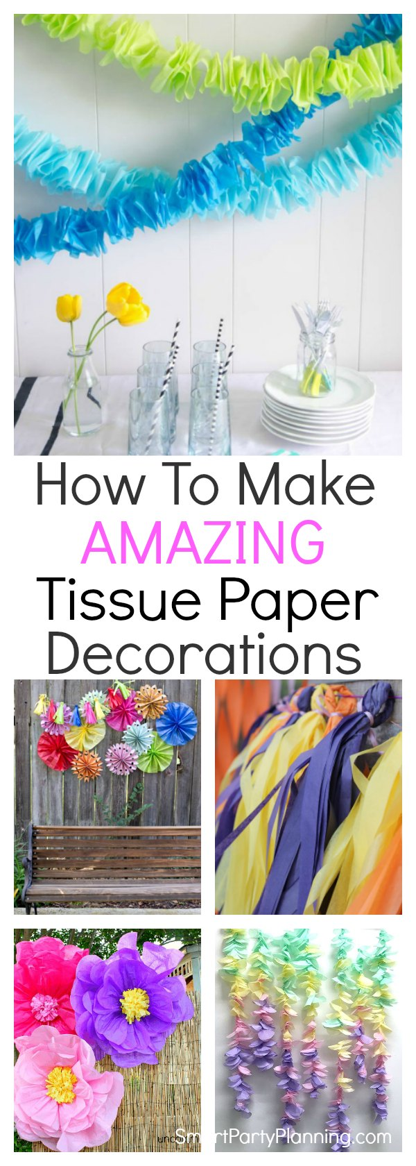 Learn how to make 11 amazing tissue paper decorations.DIY decorations are always good for the party budget, and tissue paper makes an awesome backdrop, pom poms and garlands. Suitable for all color schemes these DIY tutorials will get your creative juices flowing.They are all easy to make and great for all kinds of parties from a birthday celebration to baby showers. No: 11 is going to look amazing! #Tissuepaperdecorations #Howtomake #DIY #Easy