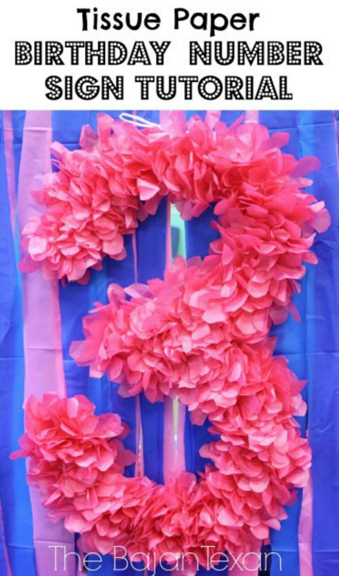 Tissue Paper Birthday Number Sign
