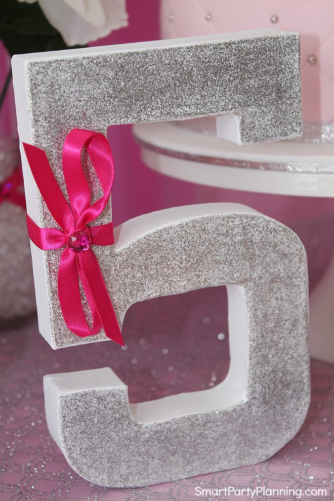 Glittery number 5 perfect for a princess party