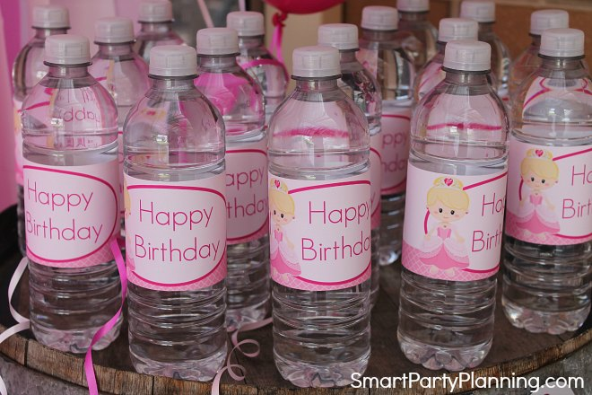 Princess Birthday Water Bottle Labels