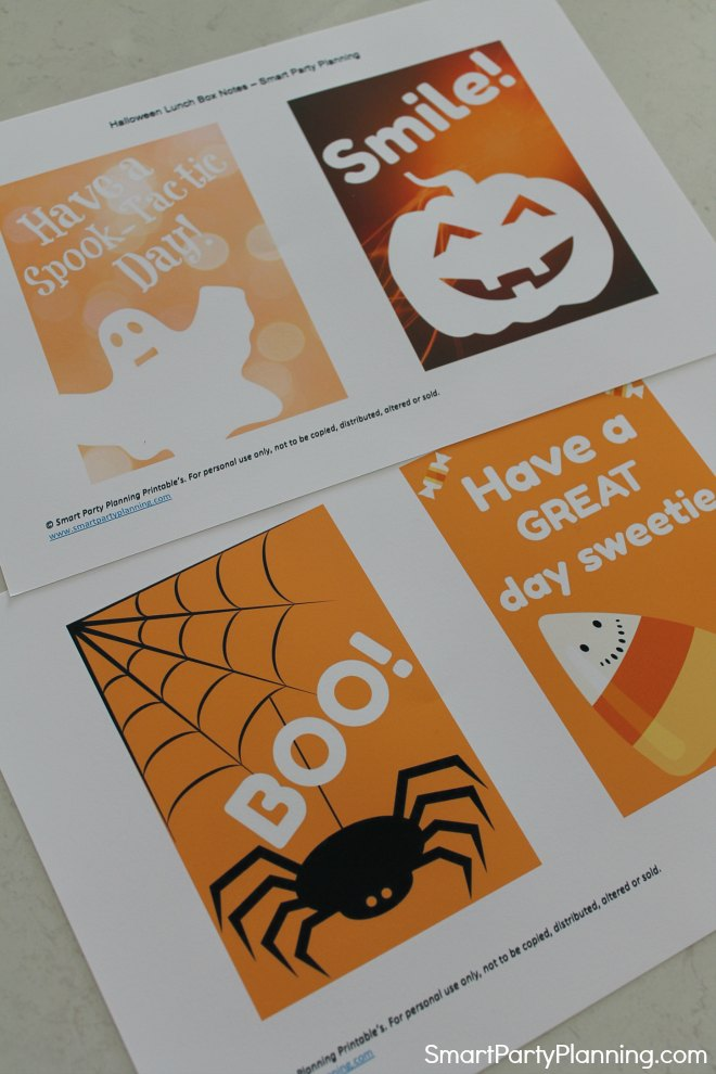 Print out the Halloween lunch box notes