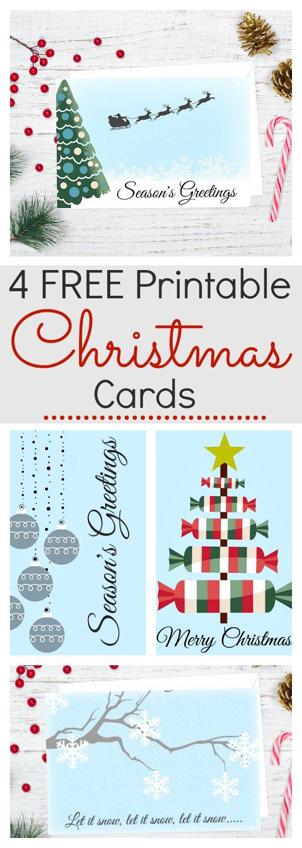 4 free printable Christmas cards